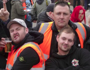 Chris Payne, Dave Stokoe and Nicky Long stewarding an EDL demo