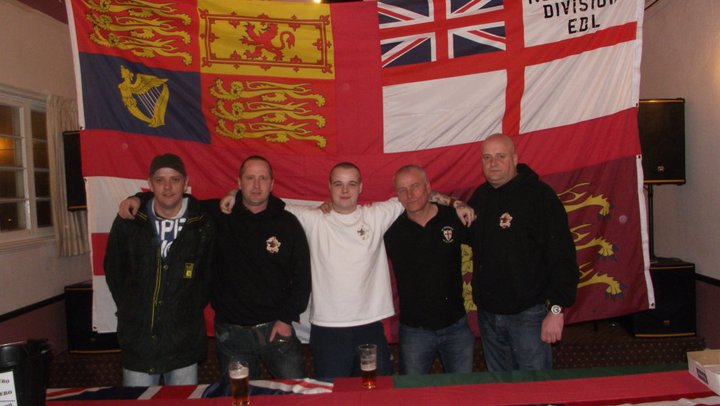East Midlands Infidels organisers: (From left) Craig Elliott (Leicester EDL), Jay Clark (Nottingham EDL), Chris Conroy (Newark EDL), Tony Curtis and Stan Green (Mansfield EDL)