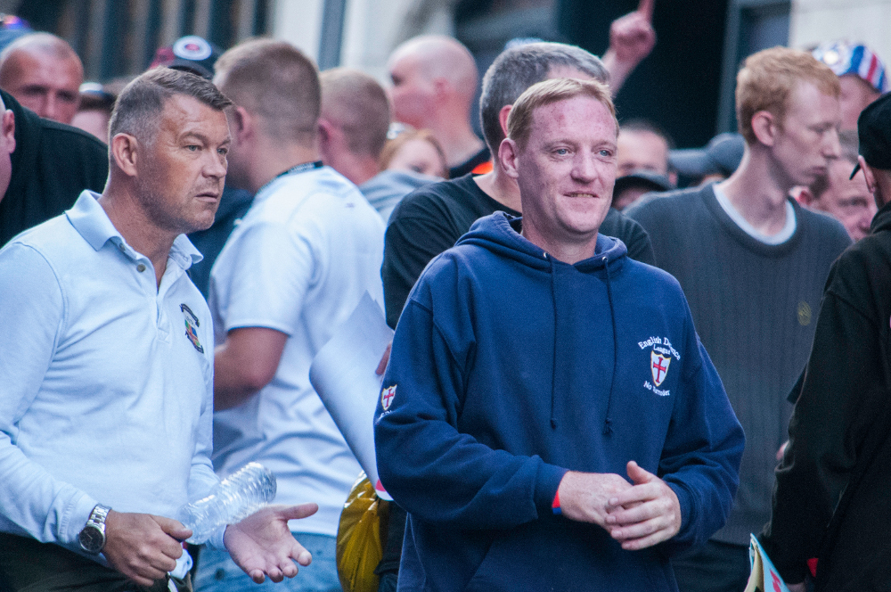 Andrew Shaw (Centre, blue hoodie): Worksop EDL and Notts Casual Infidels