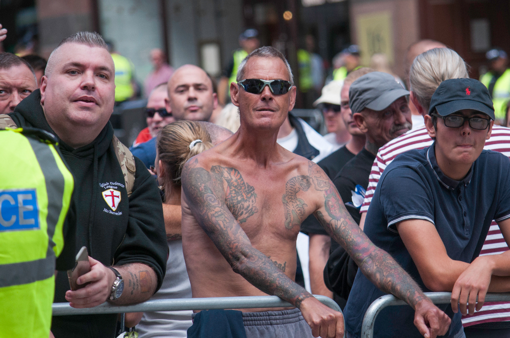 Left: Gaz Jones, Manchester EDL